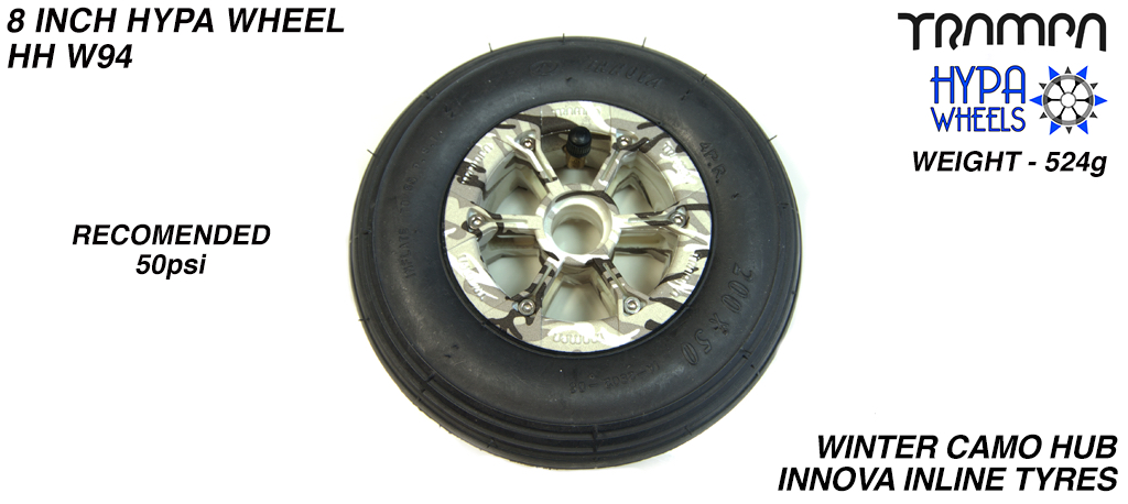 8 Inch Wheel - Winter Camo Hypa Hub with Black INNOVA Inline 8 Inch Tyre
