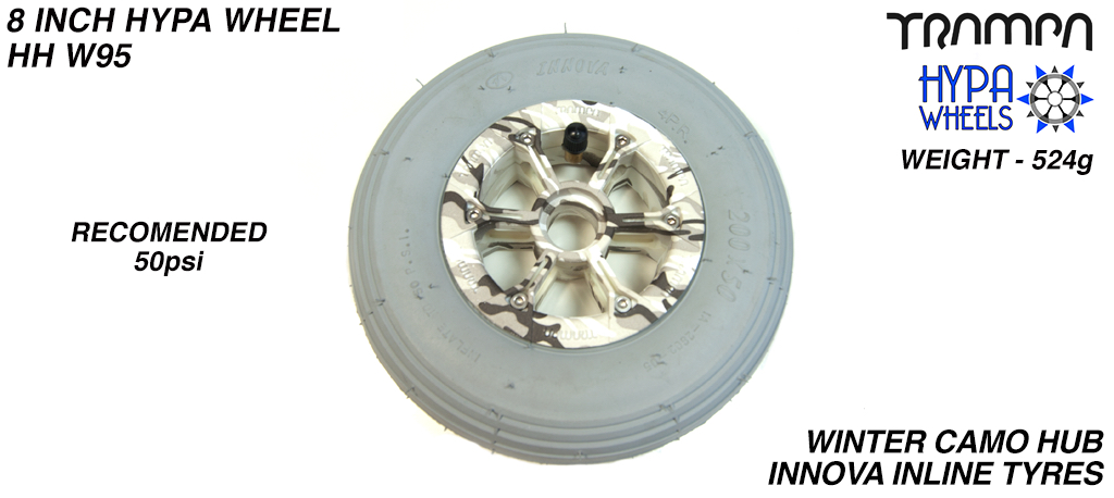 8 Inch Wheel - Winter Camo Hypa Hub with Grey INNOVA Inline 8 Inch Tyre