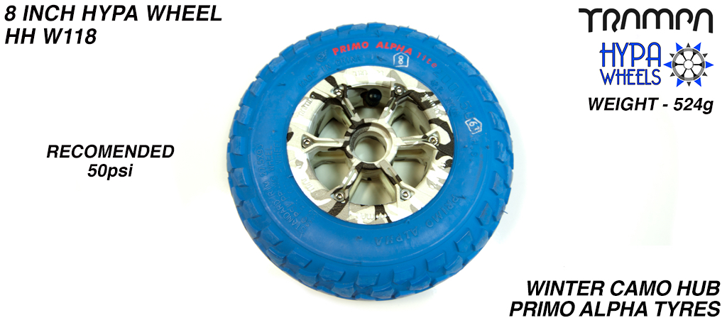 8 Inch Wheel - Winter Cammo Hypa hub with Blue PRIMO Alpha 8 Inch Tyre