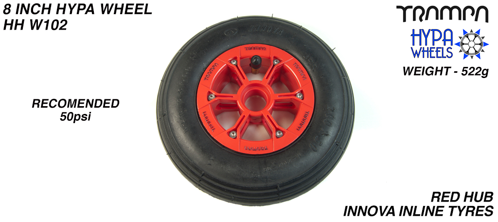 8 Inch Wheel - Red with Black Logo Hypa Hub with INNOVA Inline 8 Inch Tyre