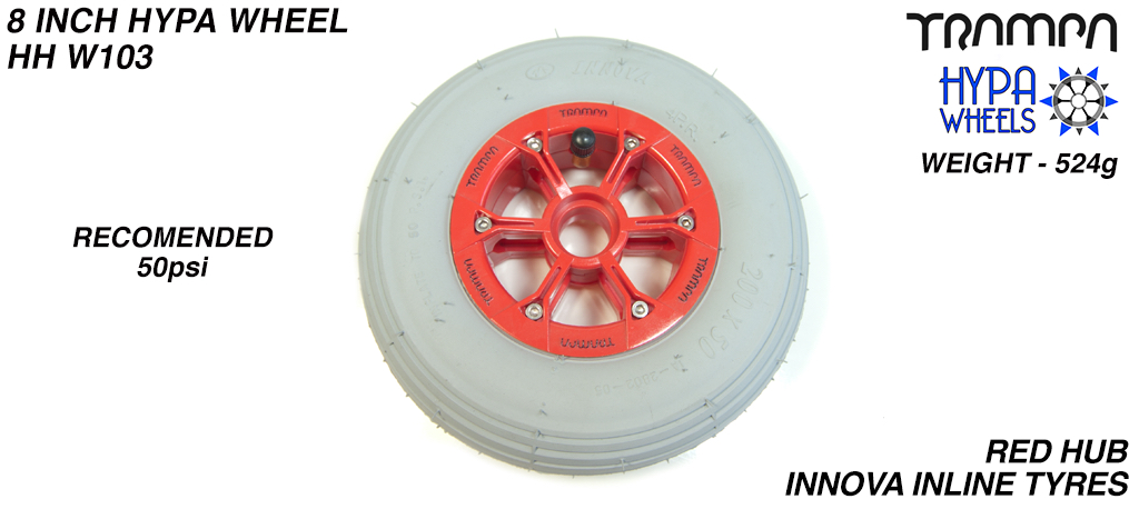 8 Inch Wheel - Red with Black Logo Hypa Hub with Grey INNOVA Inline 8 Inch Tyre