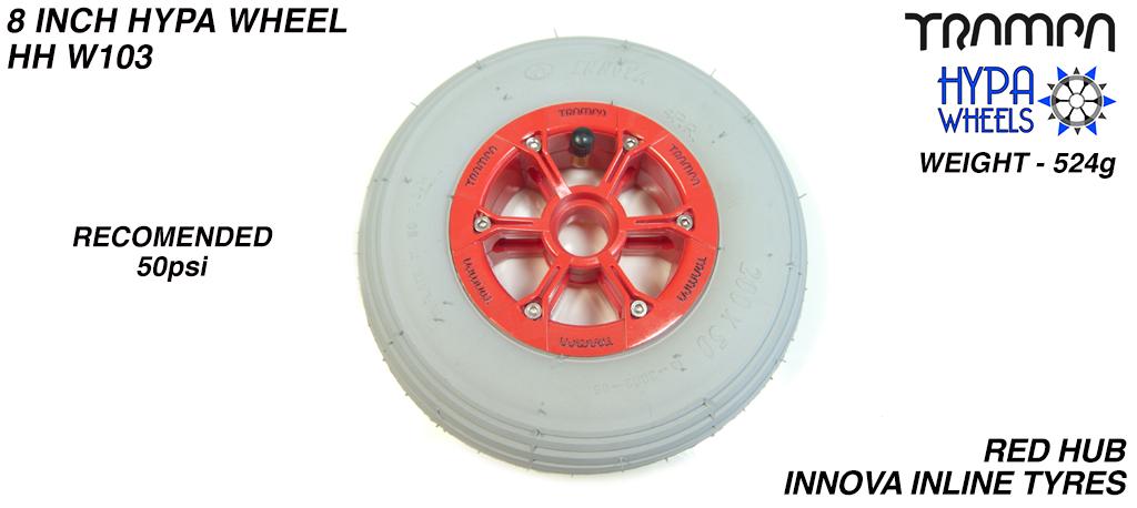8 Inch Wheel - Red with Black Logo Hypa Hub with Grey INNOVA Inline 8 Inch Tyre