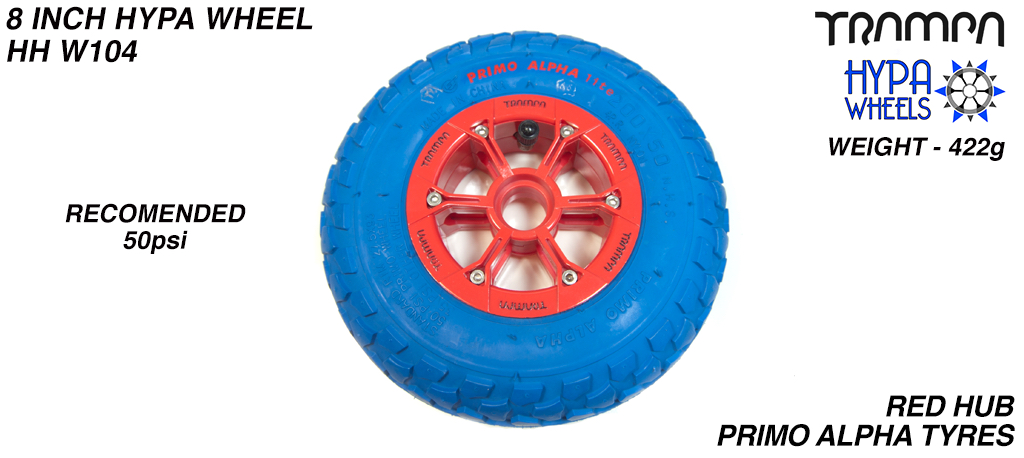 8 Inch Wheel - Red & Black logo Hypa Hub with Blue Alpha 8 Inch Tyre