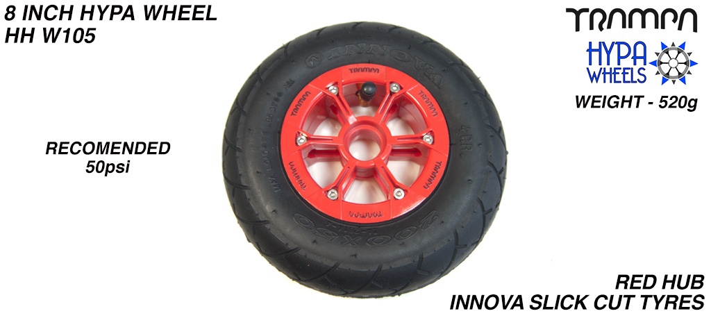 8 Inch Wheel - Red with Black Logo Hypa Hub, Black INNOVA KK Slickcut 8 Inch Tyre