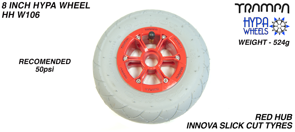 8 Inch Wheel - Red with Black Logo Hypa Hub, Grey INNOVA KK Slickcut 8 Inch Tyre
