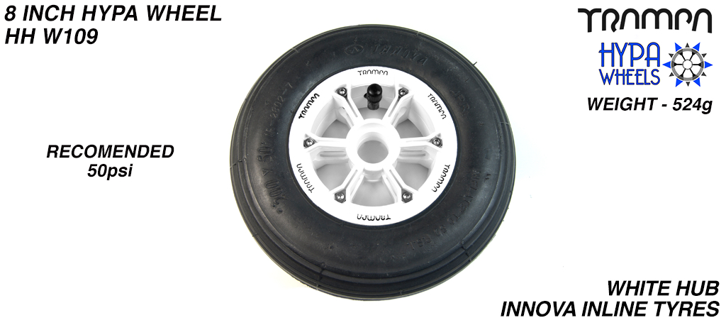 8 Inch Wheel - White with Black logo Hypa Hub with Black INNOVA Inline 8 Inch Tyre