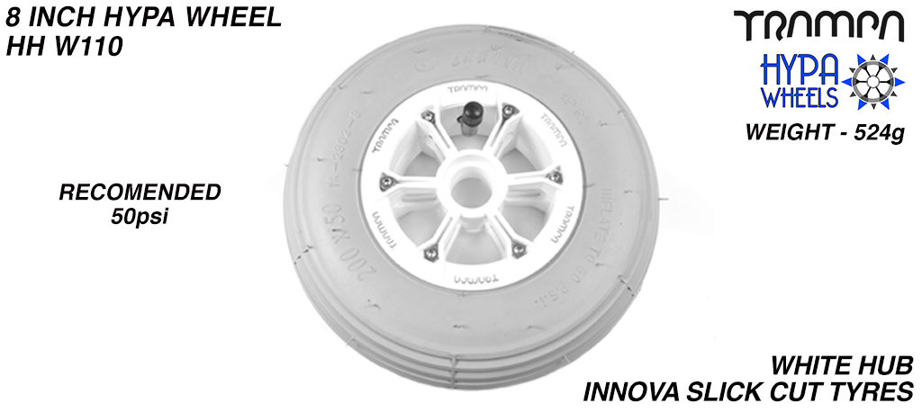 8 Inch Wheel - White with Black logo Hypa Hub with Grey INNOVA Inline 8 Inch Tyre