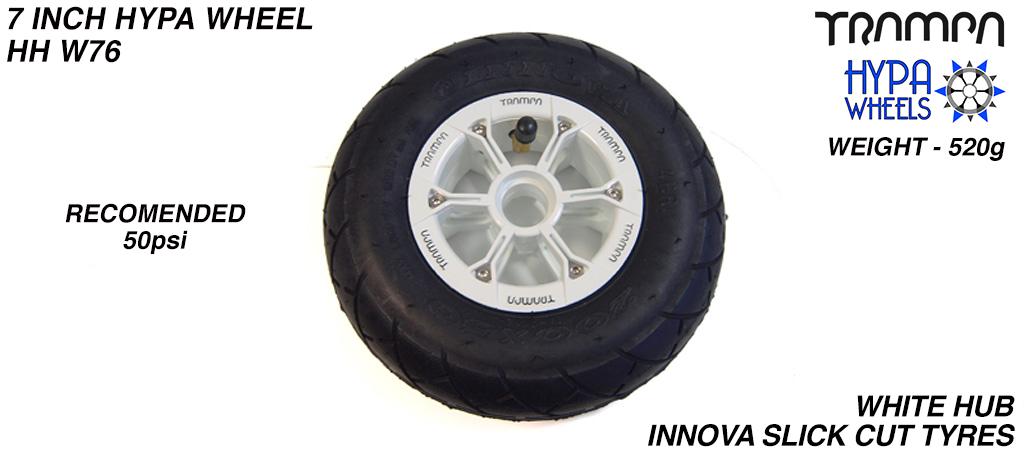 8 Inch Wheel - White with Black logo Hypa Hub with Black INNOVA KK Slickcut 8 Inch Tyre
