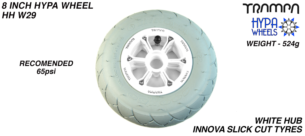 8 Inch Wheel - White with Black logo Hypa Hub with Grey INNOVA KK Slickcut 8 Inch Tyre