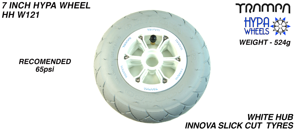 8 Inch Wheel - White with Blue logo Hypa Hub with Grey INNOVA Slickcut 8 Inch Tyre