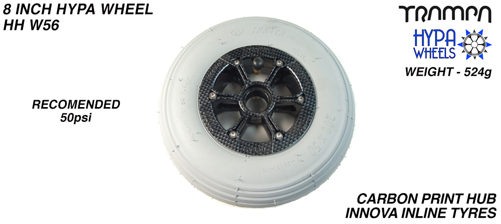 8 Inch Wheel - Carbon Fibre print Hypa Hub with Grey INNOVA Inline 8 Inch Tyre
