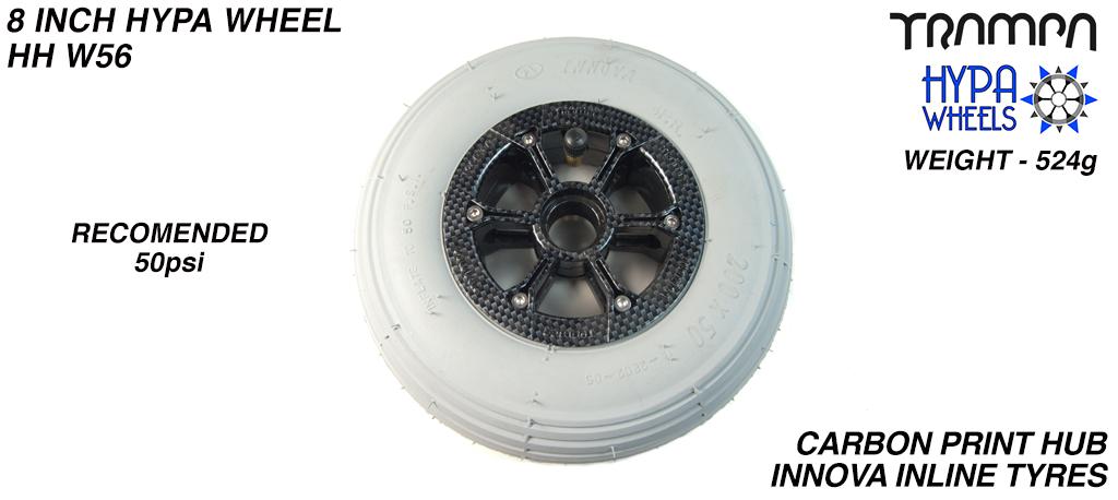8 Inch Wheel - Carbon Fibre print Hypa Hub with Grey INNOVA Inline 8 Inch Tyre