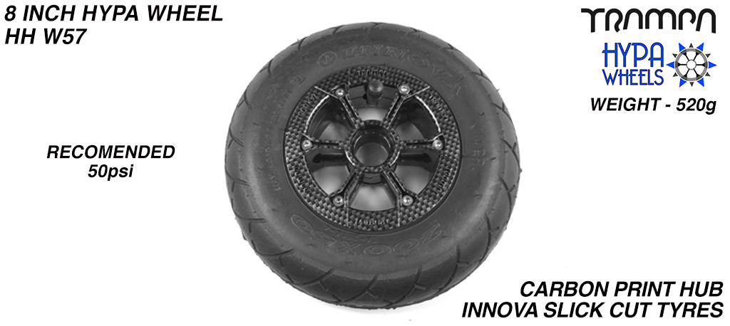 8 Inch Wheel - Carbon Fibre Print Hypa Hub with Black INNOVA KK Slickcut 8 Inch Tyre