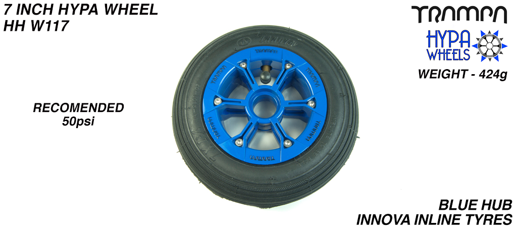 7 Inch Wheel - Blue Gloss with Black Logo Hypa hub & Black Inline 7 inch Tyre