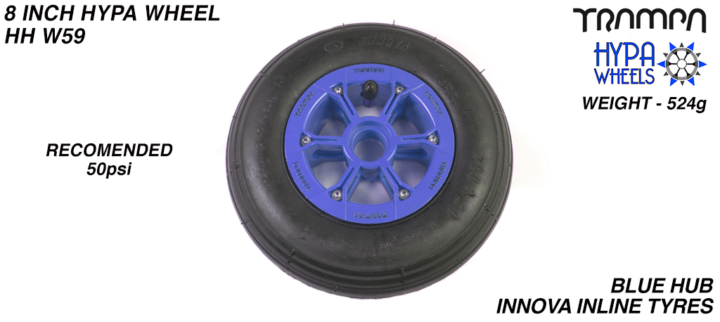 8 Inch Wheel - Blue with Black logo Hypa Hub with Black Inline 8 Inch Tyre