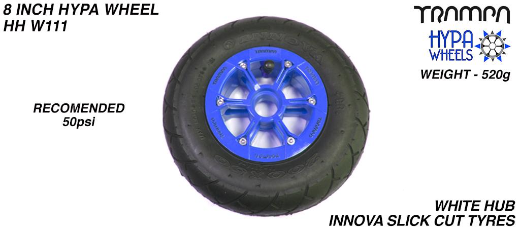 8 Inch Wheel - Blue with Black logo Hypa Hub Black INNOVA KK Slickcut 8 Inch Tyre