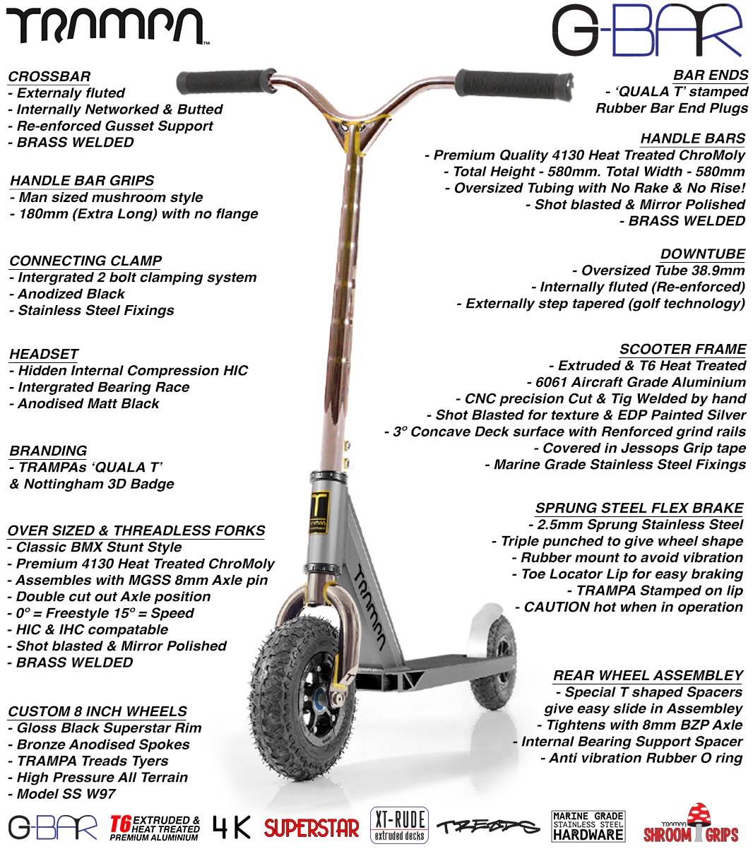 G-Bar Pro Scooters - BRASS WELDED 42CrMo4 Chromo Steel