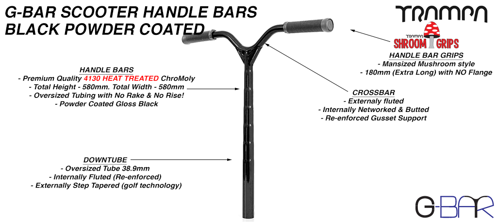 G-Bar 42CrMo4 Chromo Steel PRO Scooter Handle Bars - BLACK Powdercoated
