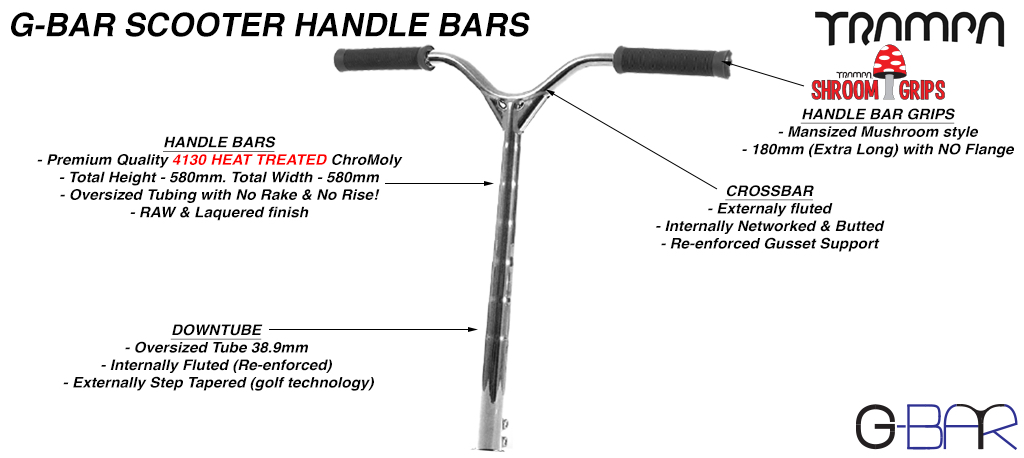 G-Bar 42CrMo4 Chromo Steel PRO Scooter Handle Bars - Half Polished & Lacquered