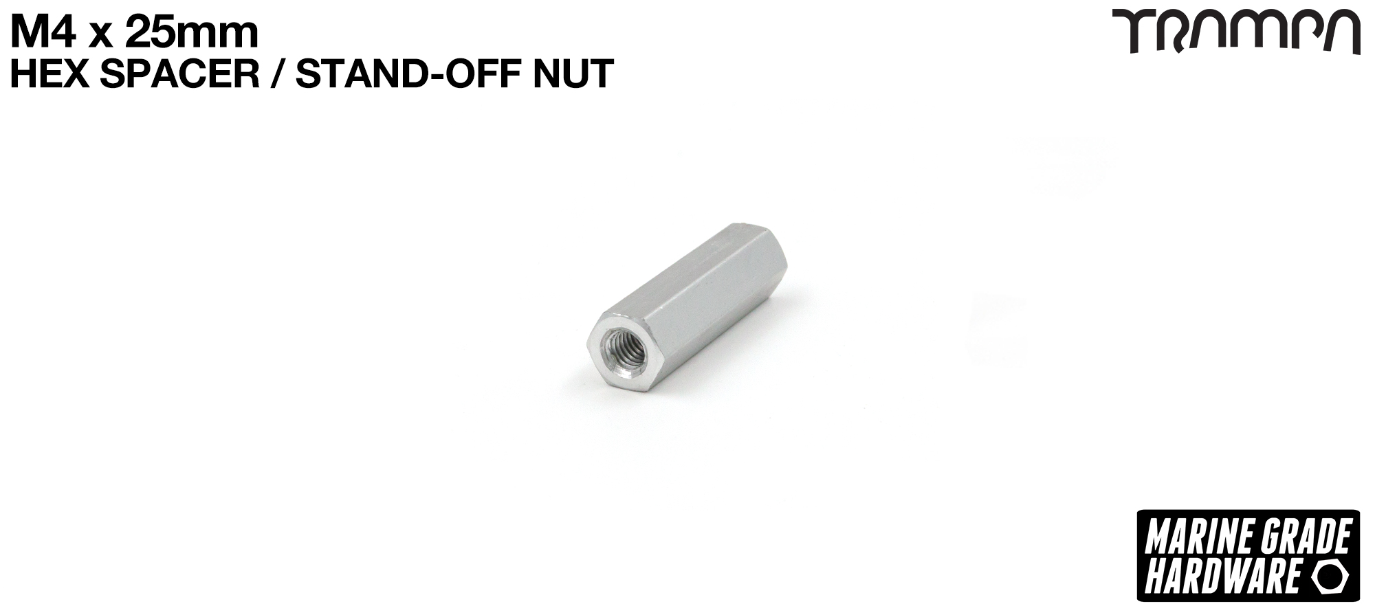 M4 x 25mm Threaded Spacer Nut stand off - Aluminum