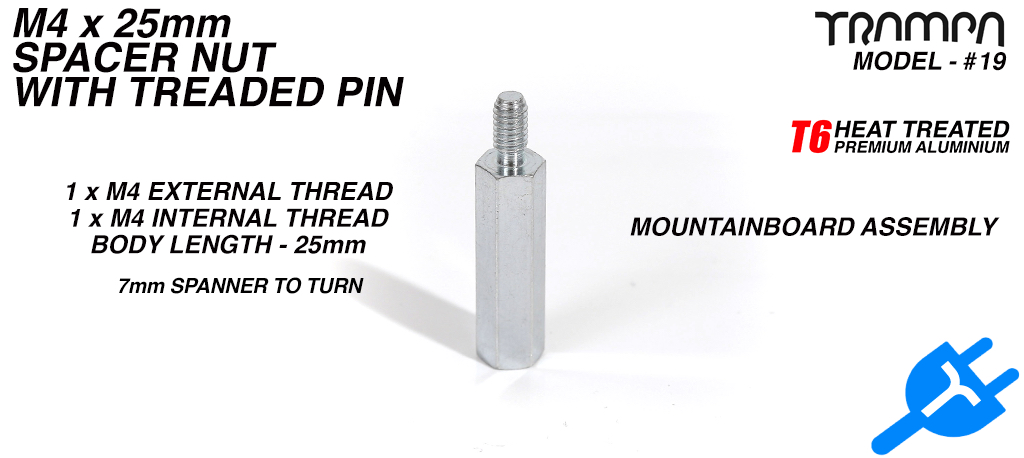 M4 x 25mm internally threaded Spacer Nut & M4 x 8mm Pin for E-MTB Assembly
