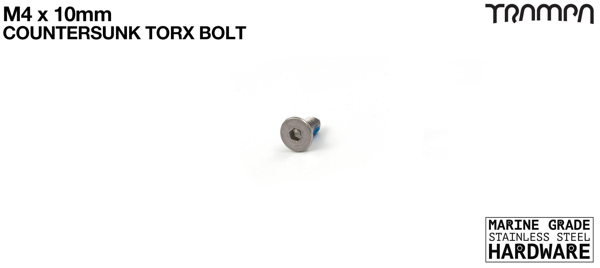 M4 x 10mm Countersunk Head Bolt Marine Grade Stainless Steel
