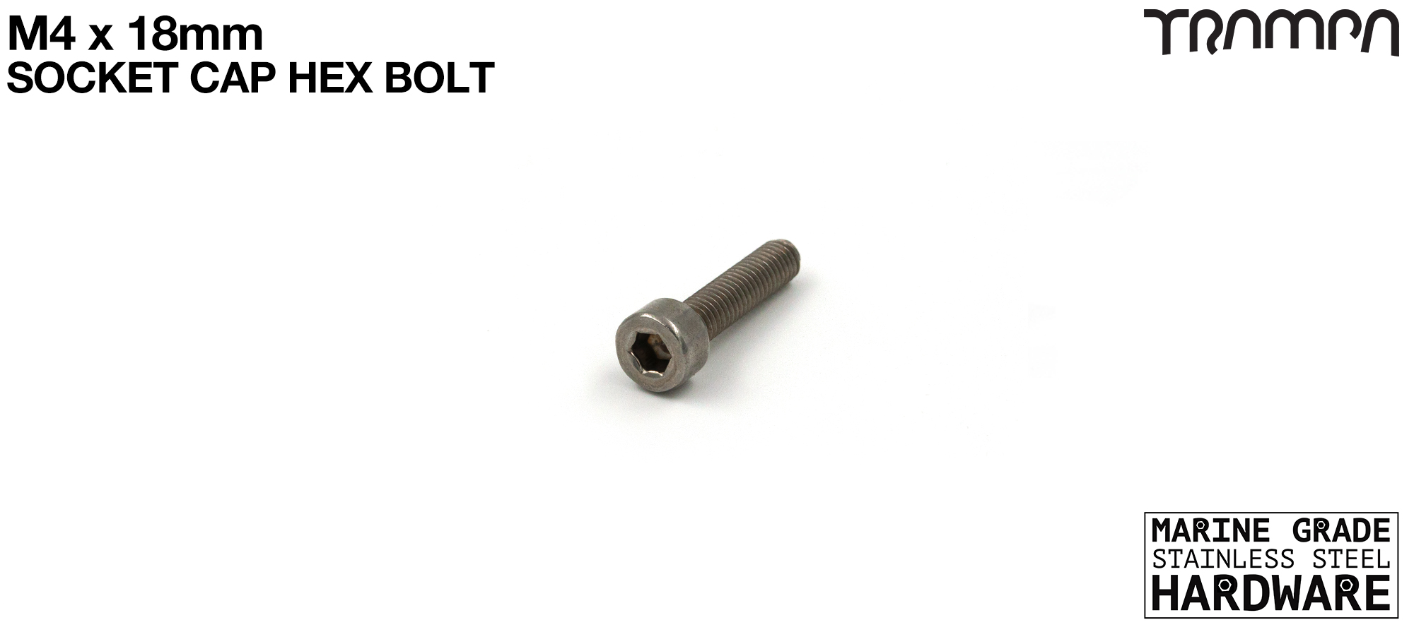 M4 x 18mm Socket Capped Head Bolt ISO 4762 Marine Grade Stainless Steel #25