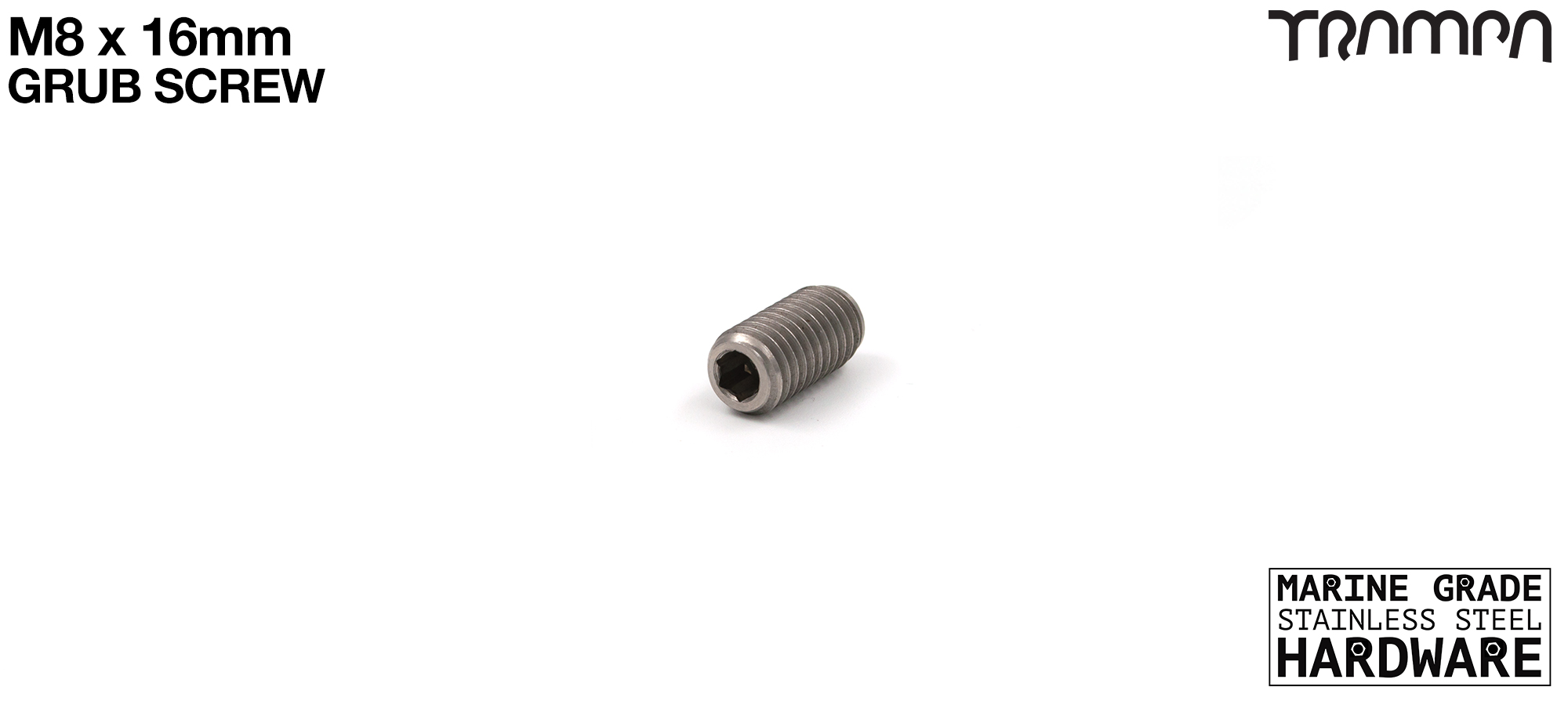 M8 x 16mm GRIPPY Grub Screw MGST Shape B with FLAT BALL - Connects Street Urban & Mountaniboard mounts to Hangers