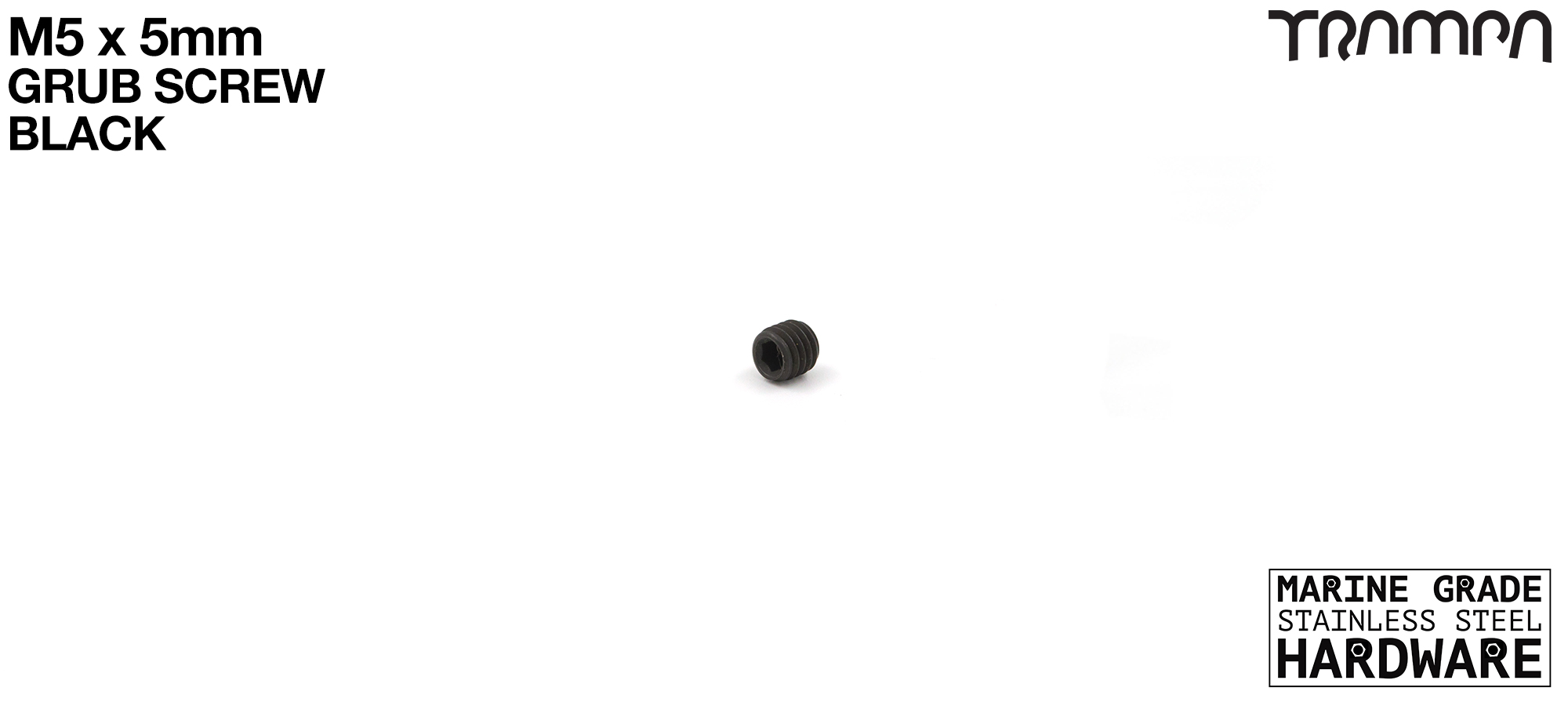 M5 x 5mm Black Steel Grub Screw Marine Grade Stainless Steel - Connects into Motor Mount to give Axle position on Mountainboards