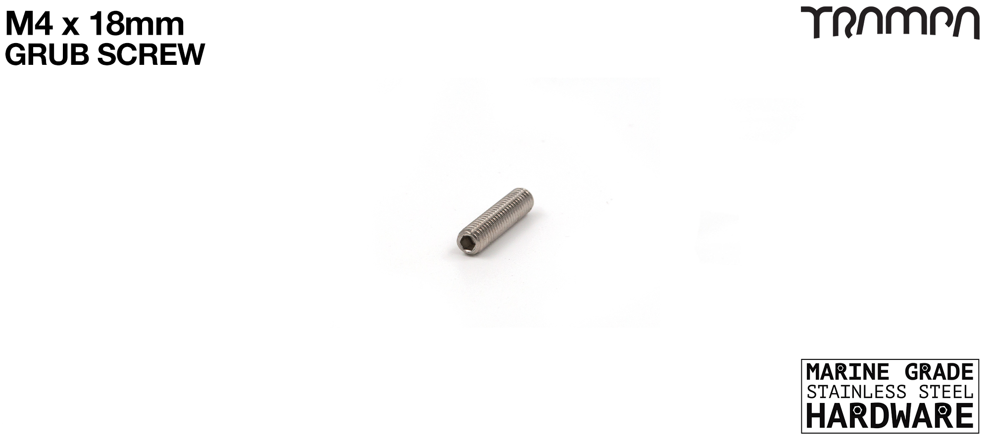 M4 x 18mm Grub Screw Marine Grade Stainless Steel - Connects to 80mm HEX Spacer #32