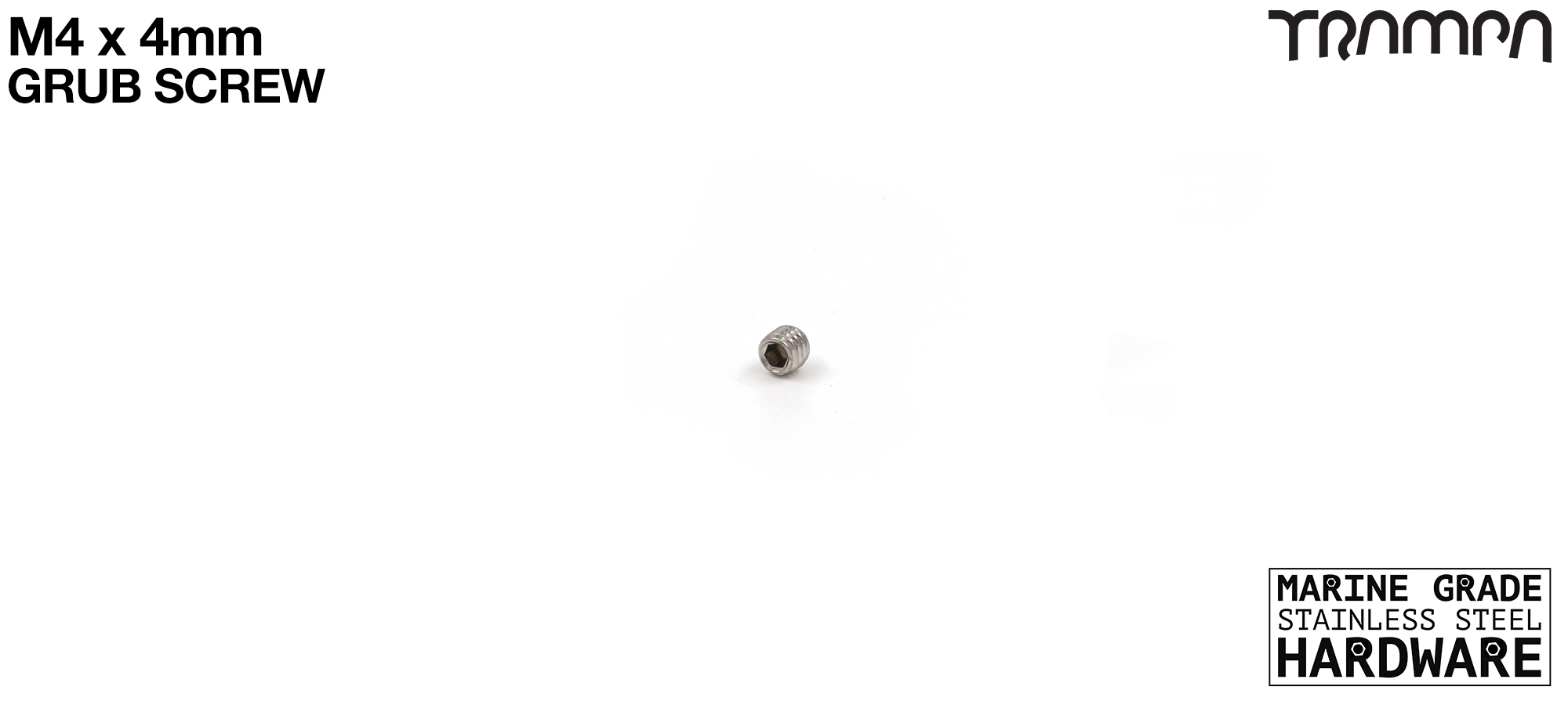 M4 x 4mm Grub Screw Marine Grade Stainless Steel - Connects the Motor Pulley onto the Motor Axle Shaft