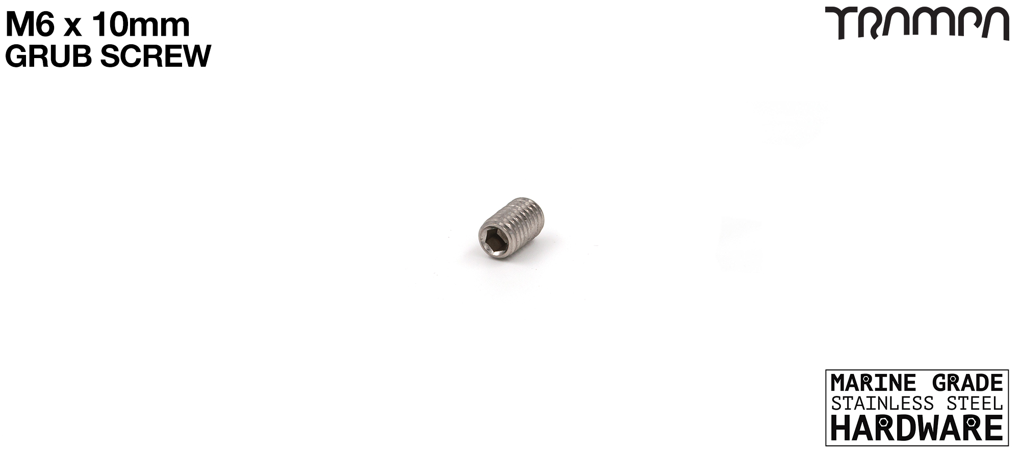 M6 x 10mm Grub Screw Marine Grade Stainless Steel - Locks Motor Mount to Hanger for Longboard Trucks