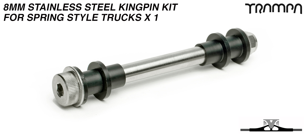 8mm Stainless Steel Kingpin kit for Spring style Trucks x 1
