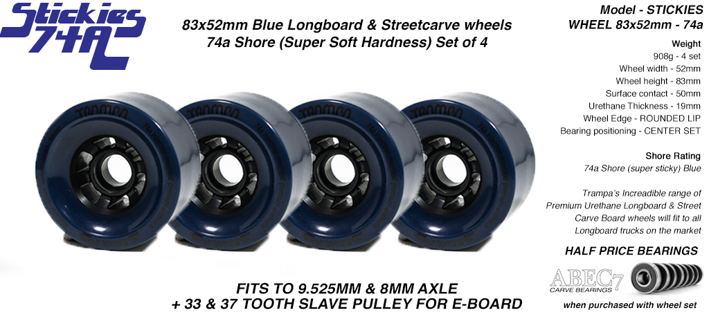 STICKIES Longboard & Street Carver Wheels - 83 x 52mm - 74a Super Sticky Urethane Blue x4