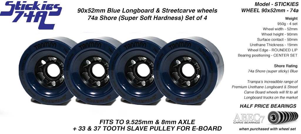 STICKIES Longboard & Street Carver Wheels - 90 x 52mm - 74a Super Sticky Urethane BLUE x4
