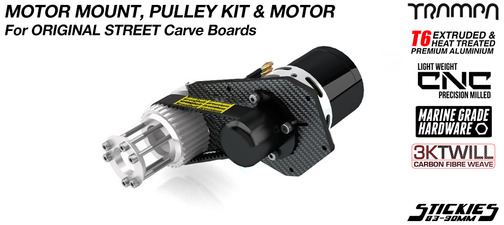 STREET Carver Carbon Fibre Motor Mount with 6364 Motor & 33/37 tooth Pulley Kit to fit Longboard Wheels