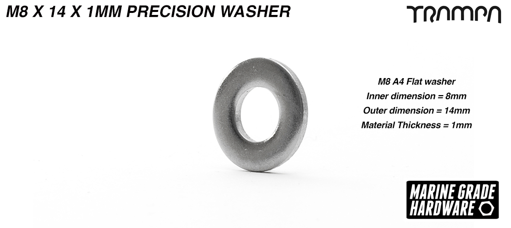 M8 x 1mm Precision Washer Marine Grade Stainless steel Used to take up any tolerance when mounting the motors on Motor Axle
