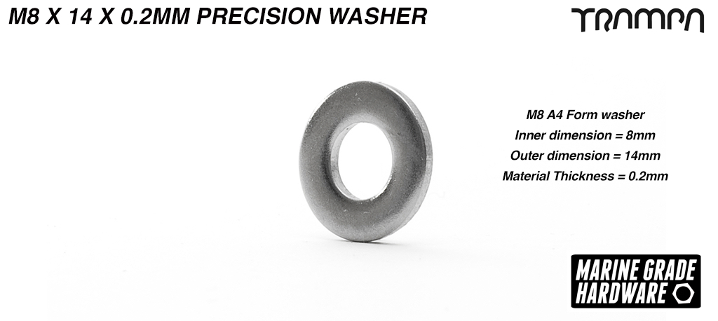 M8 x 14 x  0.2mm Precision Washer Marine Grade Stainless steel Used to take up any tolerance when mounting to motor to the motor shaft