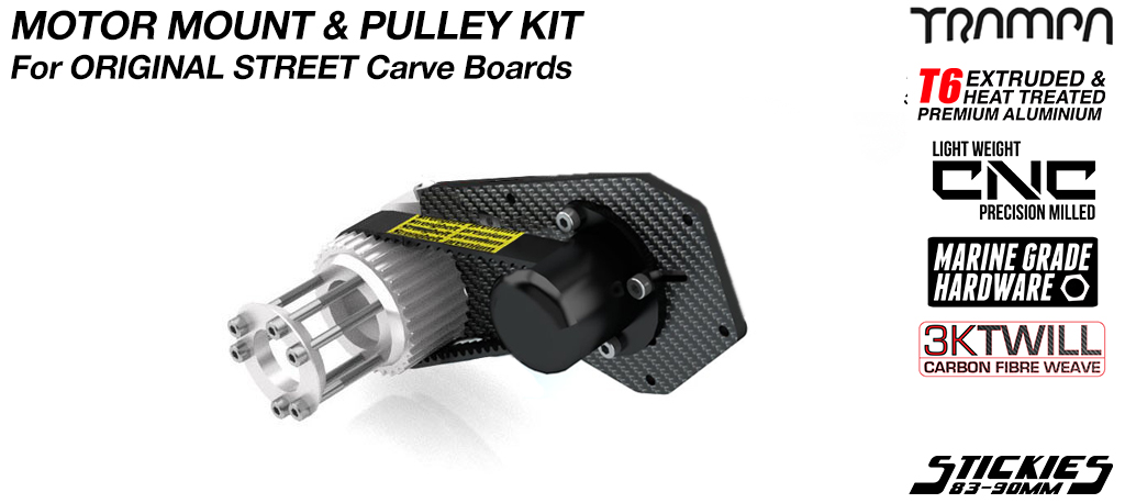 STREET Carver Carbon Fibre Motor Mount with CUSTOM Pulley Kit to fit 83 or 90mm Stickies Longboard Wheels