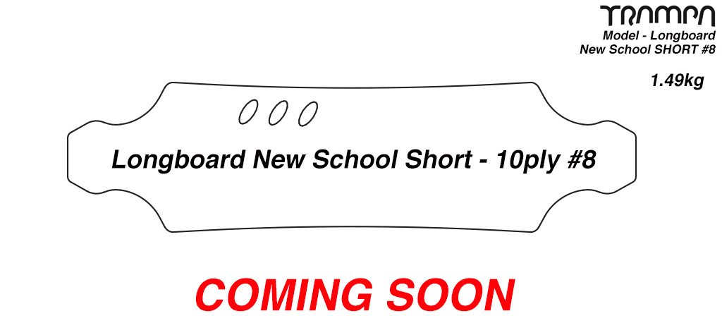 New Skool SHORT Longboard BLANK Deck with easy carry handles - 10ply - FIRM