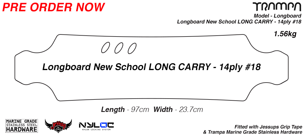 New Skool Long Longboard with Carry handles Drilled Edged with Grip tape & Bolt Kit