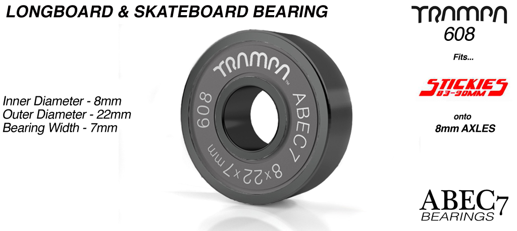 Longboard & Skateboard Bearings (8 x 22 x 7mm) BLACK sidewalls with Black Logo ABEC 7 608
