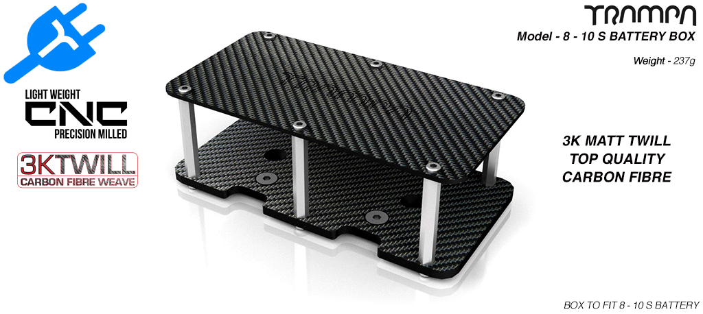8 - 10s CARBON FIBRE Battery Box 174 x 90.5 x 3mm thick - Fits 8-10s Batteries to TRAMPA Decks