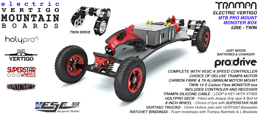 529e Electric Mountain Board on Vertigo Trucks Superstar Wheels & Ratchet Bindings - RED