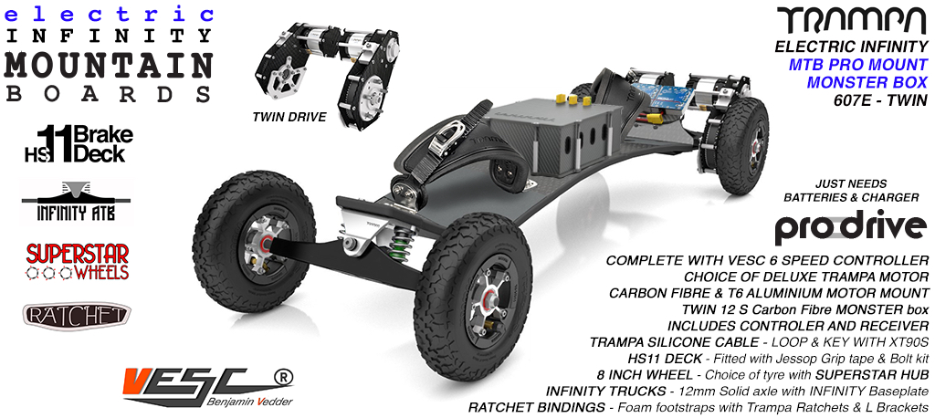 607e Electric Mountain Board on Infinity Trucks SUPERSTAR Wheels & Ratchet Bindings SILVER