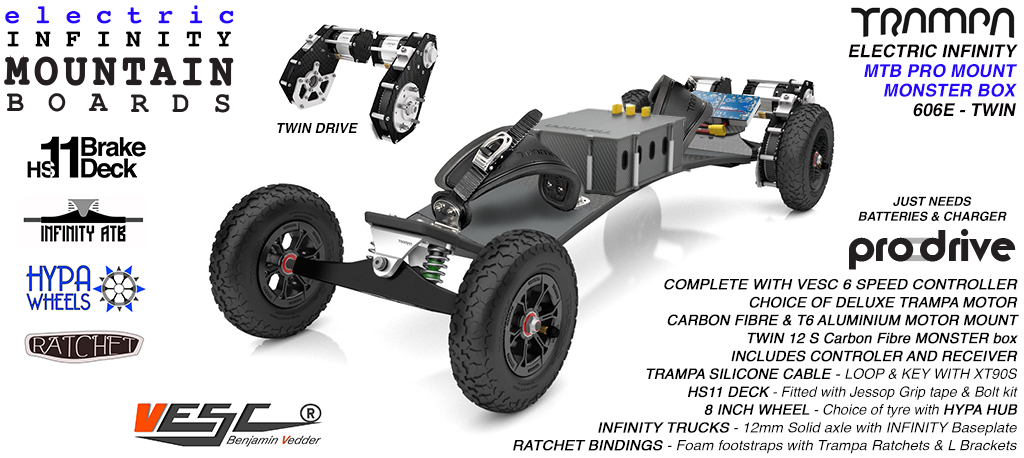 606e Electric Mountain Board on Infinity Trucks Hypa Wheels & Ratchet Bindings SILVER