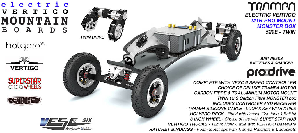529e Electric Mountain Board on Vertigo Trucks Superstar Wheels & Ratchet Bindings - WHITE