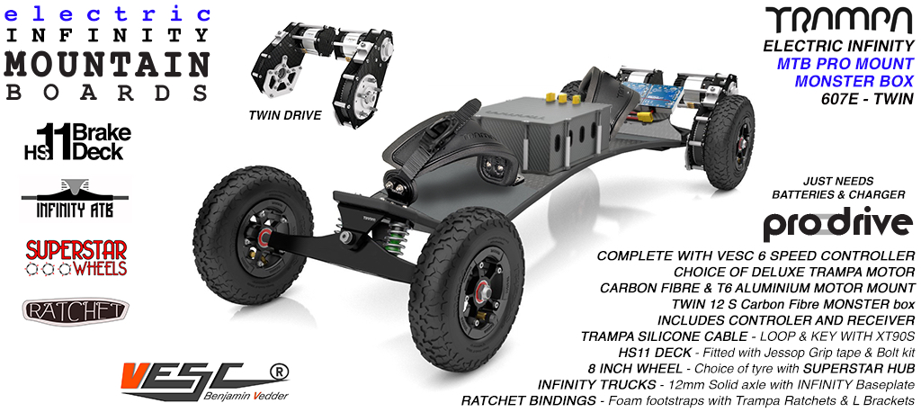 607e Electric Mountain Board on Infinity Trucks SUPERSTAR Wheels & Ratchet Bindings BLACK