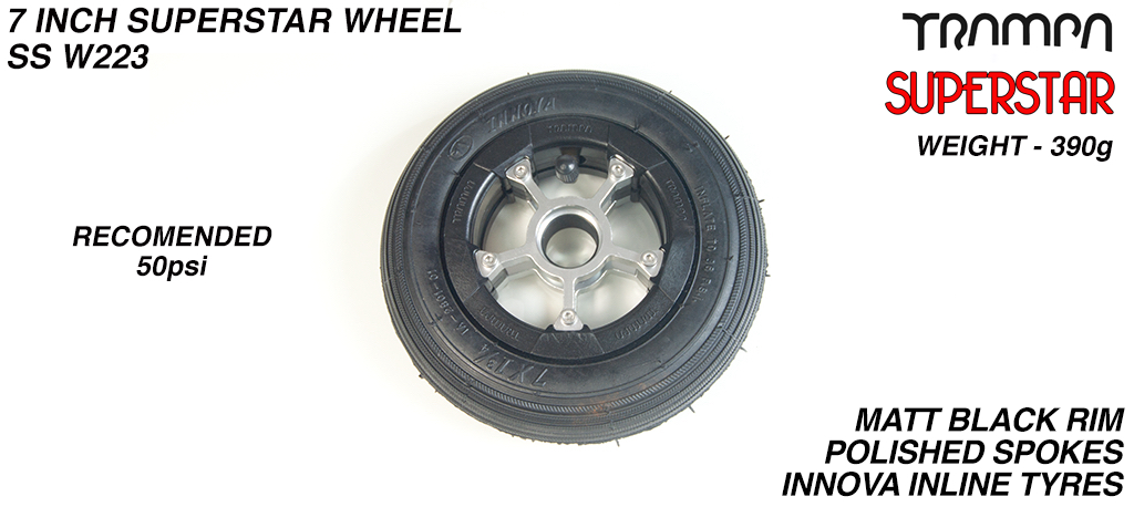 7 Inch Wheel - Matt Black Superstar Rim Polished Spokes with Black 7 Inch Inline Tyre
