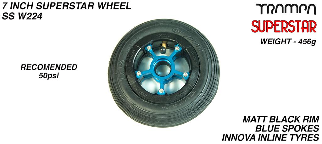 7 Inch Wheel - Matt Black Superstar Rim Blue Anodised Spokes & Black 7 Inch Inline Tyre